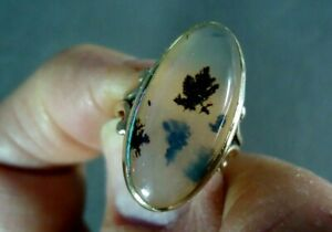 Vintage 10K Yellow Gold Ring w Oval Moss Agate Cabochon, 3.9g, Size 6.25