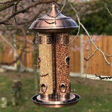 Copper Triple Tube Garden Wild Bird Large Feeding Station Hanging Feeder Gift