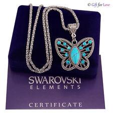Collana donna argento Swarovski Elements originale G4L farfalla pietra turchese