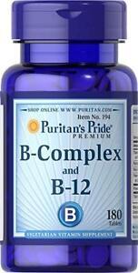 Puritan's Pride B Complex with B12 x 180 Vegetarian Tablets