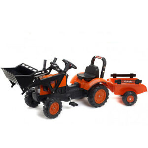 Kubota Branded Orange M717 Kids Ride on Pedal Tractor w/ Loader & Trailer