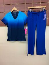 NEW Galaxy Blue Print Scrubs Set With Koi Small Top & Heart Soul Small Pants NWT