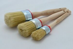 50 35 25 OVAL Paint Brush Set 3 Shabby Chic Chalk Paint Pure Bristle Brush, Wax.