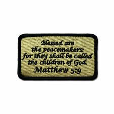 Tactical Combat Military Morale Patch Badge EMB Hook and Loop - Matthew 5:9 ACU