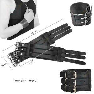 Leather Arm Guards Bracers Cool Biker Wrist Band Bracer Arm Armor Cuff Pair Xmas