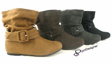 NEW-Womens-Short-Wrinkle-Slouch-Ankle-Boots-Flat-Heel-Suede-Booties-BLK-BRN-Tan