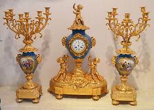Sevre porcelain clock and candleabras fantastic Royal set