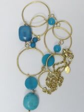 NEW w/ Tags OLD STOCK Yellow Gold Filled TURQUOISE Open Link Necklace