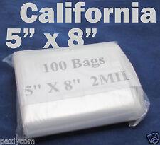 """100 x  Zipper 5"""" x 8"""" Zip Lock Clear Poly Plastic Bag 2MIL Ziplock 125 x 205 mm"""