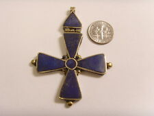 handmade Lapis Maltese hinged rustic cross pendant catholic christian 46609