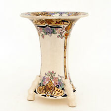 "Antique Porcelain Vase 7-1/4"" Tall Tri Bamboo Footed, Hand Decorated Painted"