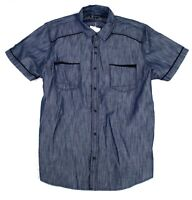 INC Mens Shirt Denim Blue Size 2XL Chambray Short Sleeve Button-Down $60 450