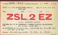 Old QSL from ZSL2EZ H Voortman Horne Avenue Queenstown South Africa 15/1/1948