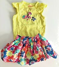 Circo Brand Two Piece Outfit Butterfly Top & Floral Skirt Outfit Size 9 Months