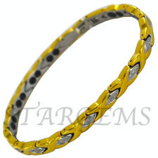WOMENS CRYSTAL MAGNETIC TITANIUM BRACELET ARTHRITIS HEALING BANGLE PAIN RELIEF