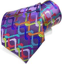 New 100% Jacquard Woven Silk Tie Ice Purple Geometric Multi-color Lawrence Ivey