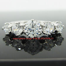 Real Solid 9ct White Gold Engagement Wedding Anniversary Ring Simulated Diamonds