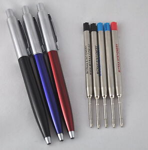 3 quality click pens red blue black 5 Mitrax ballpoint refills Parker Compatible