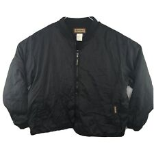 VTG Remington Outdoor Clothing Mens XL Black Fleece Lined Nylon Bomber Jacket