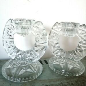 Pair Of Vintage Pressed Glass Horseshoe Design Candlestick Holders