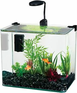 3.4-Gal Clear Radius Curved Corner Glass Aquarium Kit with Plastic Lid for Fish