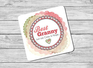 Personalised Best Granny, Grandma Drink Coaster Mat Birthday, Christmas Gift