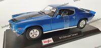MAISTO 1:18 Scale - 1971 Chevrolet Camaro - Blue-  Diecast Model Car