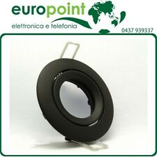 Supporto orientabile NERO per faretti lampade LED o alogene foro 75mm GU10 GU5,3