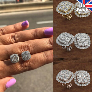 Womens 925 Sterling Silver Earrings 925 Silver Bling Crystal Rhinestone Earrings