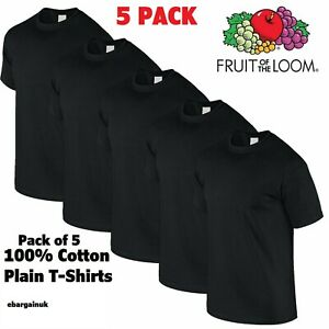 5 PACK FRUIT OF THE LOOM BLACK MENS PLAIN TEE COTTON T SHIRTS WHOLESALE S-2XL