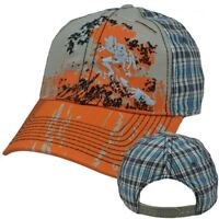 Faded Glory Youth Kids Ripped Pre Distressed Plaid Snapback Baseball Hat Cap