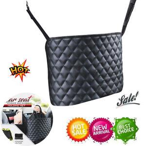 Advanced Car Net Pocket Handbag Holder PU Leather Between Car Seat Storage Black