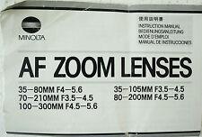 MINOLTA - AF Zoom Lenses (siehe Bild) - Bedienungsanleitung Instructions - B2476