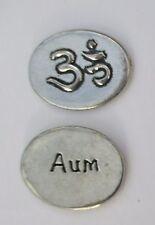 f Aum Ohm yoga hindu spirit HANDCRAFTED PEWTER POCKET TOKEN CHARM basic coin
