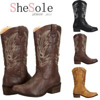 SheSole Ladies Cowboy Cowgirl Western Boots Mid Wide Calf Black Brown Size 3-9