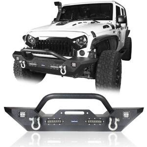 Full Width Front Bumper w/Winch Plate & Bull Bar Iron For Jeep Wrangler JK 07-18