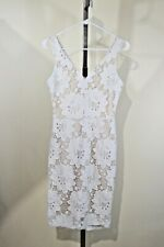 Women's White Lace Sweetheart V Neck Form Fitting Dress Size XS/S