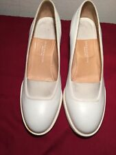 "Sz 38.5 EU 7.5 USA Dries Van Noten White Leather Classic Pumps Heel 3"" - Italy"