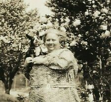 c1920~Vintage Dog rppc~Large Lady Holds Tiny Boston Terrier~Real Photo Postcard