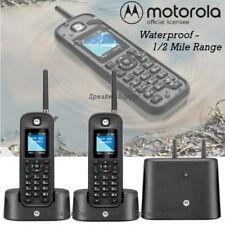 Motorola 0212 Rugged Waterproof 1/2 Mile Long Range 2 Handset Cordless Phone Set