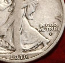 """KEY DATE""  1916-d,  WALKING LIBERTY SILVER HALF DOLLAR COIN, NICE ""VF"" COIN"