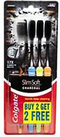 4x Colgate Slim Soft Charcoal Toothbrush Infused Bristles Pack of 4 Free Ship