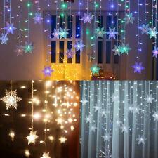 LED Schneeflocke Lichterkette Lichtvorhang Fenster Weihnachten Beleuchtung Dekor