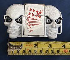 Blanc crâne briquet boucle de ceinture métal neuf non porté inutilisé working lighter