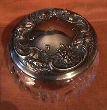 ANTIQUE CUT CRYSTAL VANITY POWDER JAR STERLING REPOUSSE LID BY DOMINICK & HAFF