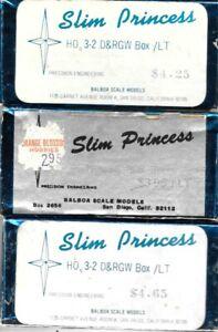 Balboa Slim Princess HOn3 D&RGW Box Cars 3 Kit Package (with Extra)
