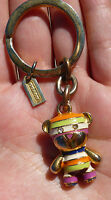 Coach Legacy Stripe Bear Key Chain Fob Charm Keychain RARE multi color