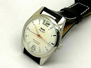 genuine hmt pilot hand winding mens steel white dial 17j vintage india watch run