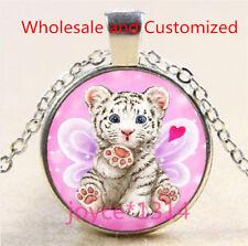 White Tiger Cabochon Silver/Bronze/Black/Gold Glass Chain Pendant Necklace #4723