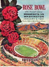 1961 Rose Bowl Football program Minnesota vs. Washington ~ unscored ~ VG